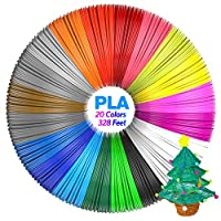 Aerb 20pcs 1.75mm PLA 3D Pen Filament Refills, 20 Colors, Total 328 Feet