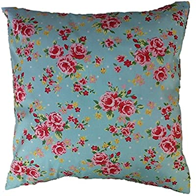 "Sky Blue and Pink Vintage Floral Print Cushion Cover Size 16"" x 16"""