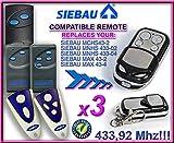 3 X SIEBAU mchs 43-2/mnhs 433-02/mnhs 433-04/Max/Max 43-2 43-4 Ersatz für Handsender der Fernbedienung, 433.92Mhz, keyfob rolling code