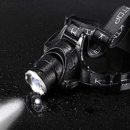 KINGTOP Waterproof USB Rechargeable LED Zoomable Head Light Torch Lamp with Internal Lithium Battery 9