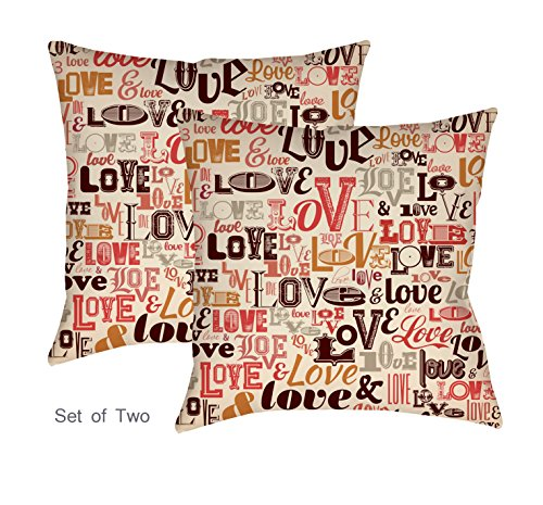 Printed Cotton Cushion Cover Shams Throw Pillow Case Cover Design Love Typography Set Of Two 43 X 43 Buy Online In Grenada At Grenada Desertcart Com Productid 55738340