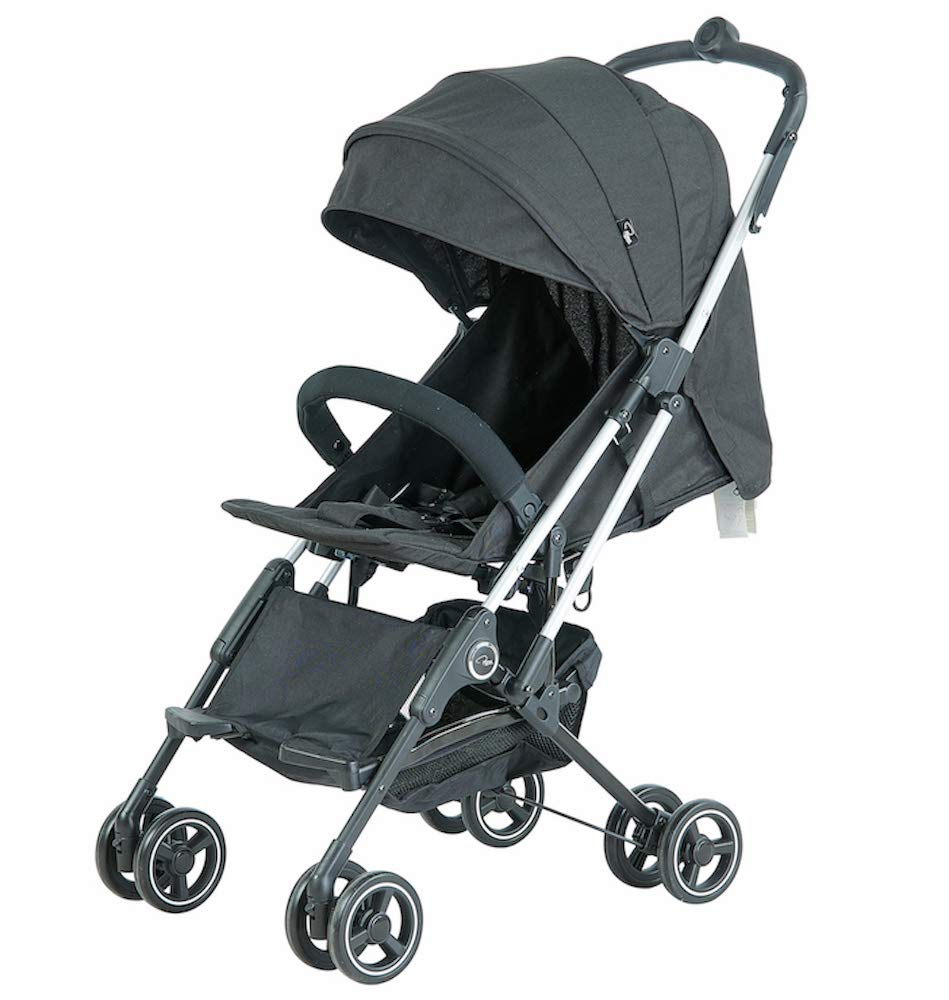 Roma Capsule² Compact Airplane Travel Buggy from Newborn Only 5.6 kgs - Black with Silver Shimmer Chassis Roma Compact lie-back stroller - suitable from newborn to 15 kgs Includes rain cover, insect net, travel bag Locked and swivel wheels, shopping basket, 1