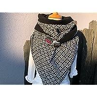 Tuecherfee / Tuch mit Verschluss / XXL Tuch / schwarz/weiß Halstuch / Dreieckstuch im Jumbo Style