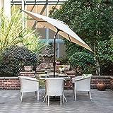 Gartenschirm mit Dreh-Kipp-Mechanismus Kurbelschirm Sonnenschutz UV-Schutz Sonnenschirm Ø 270CM, rund, Beige