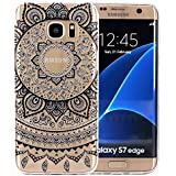 JIAXIUFEN Coque pour Samsung Galaxy S7 Edge Silicone Étui Housse TPU Protecteur - Black Circle Flower Tribal Mandala