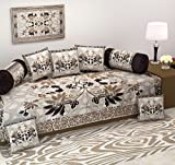 #7: Diwan Set-Ab Home Decor Exclusive Premium Quality heavy fabric 500 TC Floral Design Diwan Bedsheet set of 8 pieces for living room-Coffee Color