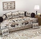 #2: Ab Home Decor Diwan Set,500 Tc Floral Design,Set Of 8 Pieces,Coffee Color