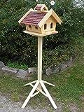 Vogelhaus mit Ständer-(V009+S1)XXL Braun-Vogelhäuser Vogelfutterhaus Vogelhäuschen-aus Holz-!!!DHL Schreinerarbeit-