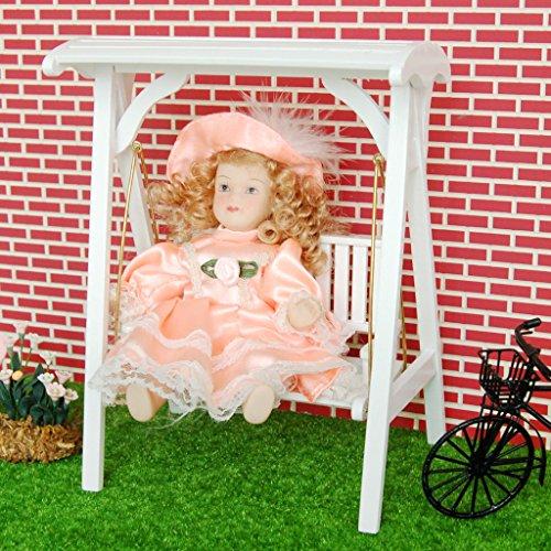 Sharplace Scala 1:12 Casa delle Bambole Mini Mobili da Giardino Oscillante Sedia a Dondolo in Legno
