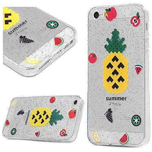 3x Cover iPhone 5S Silicone e Bling Glitter Brillanti, iPhone 5 SE Custodia Morbida TPU Flessibile Gomma - MAXFE.CO Case Ultra Sottile Cassa Protettiva per iPhone 5/5S/SE - Modello 3 Modello 2