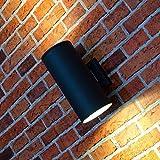 XL Up&Down Wand-Außenleuchte Hamburg in anthrazit / 107mm Durchmesser / 2x E27 230V / Wandlampe für die Hauswand