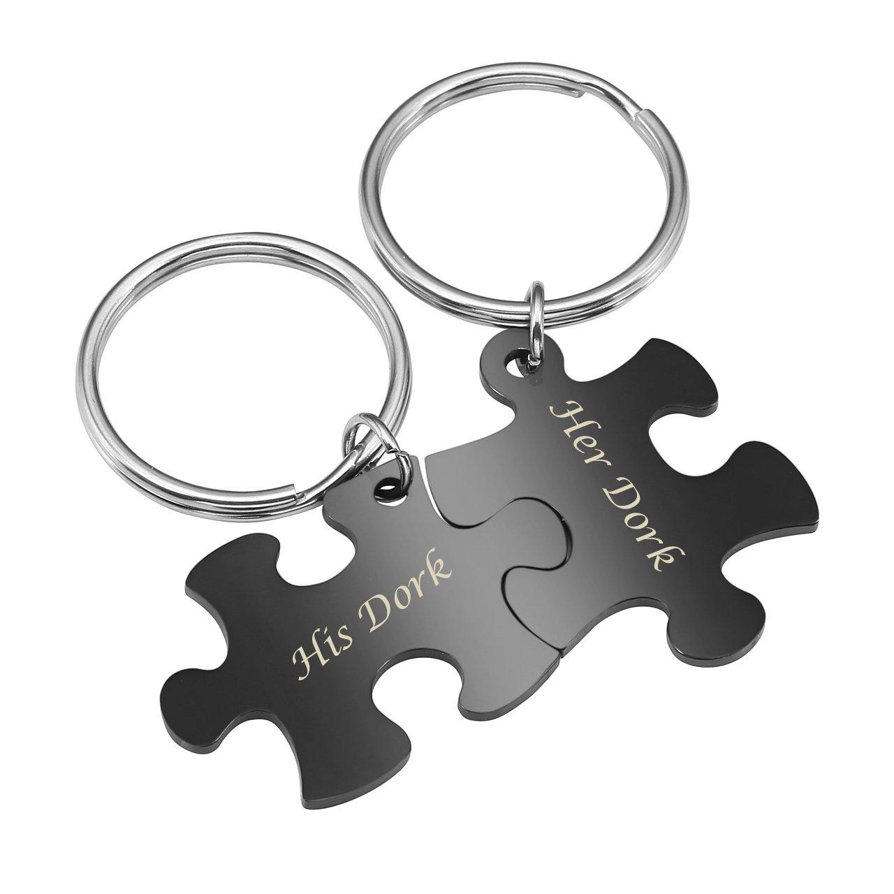 BOPREINA Personalized Gravur 2X Edelstahl 33*22mm Zwei Puzzle Schlüsselanhänger Partner Paare Liebe Freundschaft Schlüsselbund Schlüsselring Keychain (Schwarz, mit Gravur)