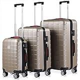 Set de 3 valises rigides Champagne Or 4 Roues 360° Bagage 2 poignées de Transport Plastique ABS Serrure Cadenas à Combinaison