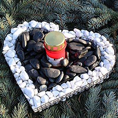Bellissa Herz Gitter mit ZIERKIES und Grablicht Grabschmuck Grabgestaltung Grabdeko Winter-Edition von Bellissa bei Du und dein Garten
