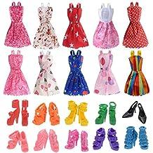 Italily - Gonna di paillettes da bambola americana da 18 pollici-10 abiti da bambola Barbie abiti da festa con 10 paia di scarpe da bambola (Multicolo)