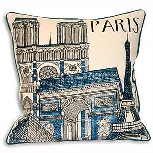 Riva Home City Paris 100% coton et housse de coussin Bleu sarcelle 45 x 45 Cm