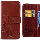 Handyhülle LG X power, K220 Hülle Tasche, Ougger Kunst Blatt Beutel BriefHülle Tasche Bumper Schale Schutzhülle PU Leder Weich Magnetisch Silikon Haut Flip Cover mit Kartenslot (Braun)