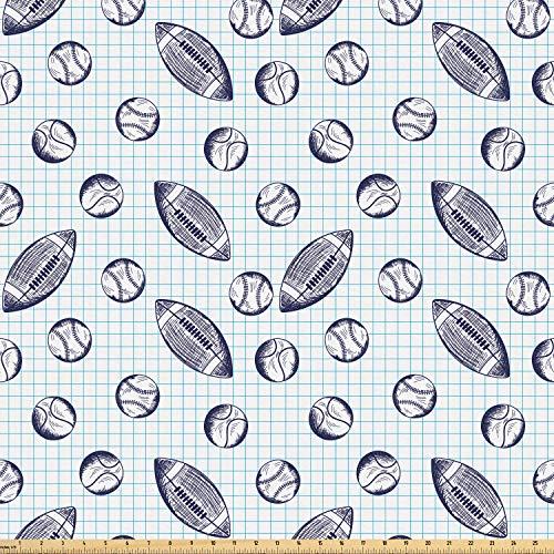 toff als Meterware, Checkered Squares Kulisse, Microfaser Multi Zweck Dekostoff für Kunsthandwerke, 3M (160x300cm), Indigo und Blassblau ()
