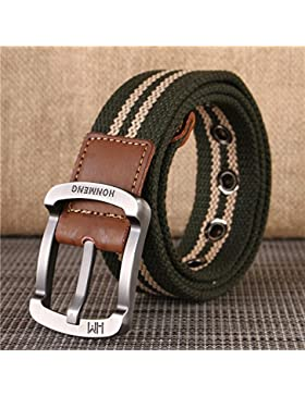 Nuevo cinturón de lona Cinturón casual gruesa Cinturón con hebilla de pasador Unisex Verde 2 105cm