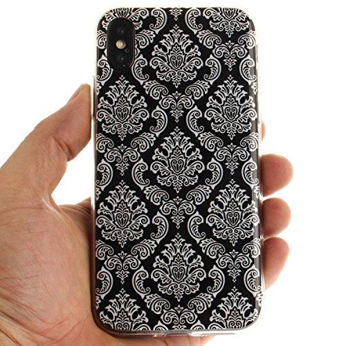 Cover Per iPhone X, Sunrive Case Custodia in molle Ultra Sottile morbido TPU silicone Morbida Flessibile Pelle Antigraffio protettiva(TPU ragazza sexy) TPU fiore