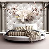 murando - Fototapete 300x210 cm - Vlies Tapete - Moderne Wanddeko - Design Tapete - Wandtapete - Wand Dekoration - Wand - Blumen Leder weiß modern b-A-0313-a-a