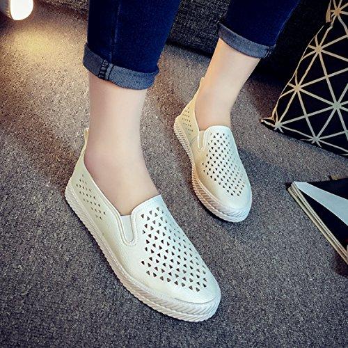 Mocasssin loafers mesh femme chaussure respirant été confortable antidérapant Blanc
