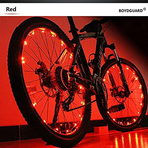 Bodyguard Bike Wheel Lights - Auto Open and Close - Ultra Bright 20 LED Bicycle Spoke Light,Bicycle Tire Accessories (1 pack) - Waterproof - Red