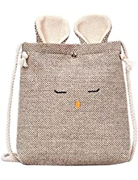Zibuyu Women Rabbit Shape Cotton Linen Small Shoulder Bag Crossbody Bag(Khaki)