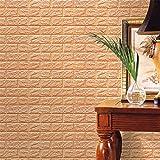 PE mousse 3D brique de pierre, bricolage papier peint Wall Stickers Wall Decor (Kaki)