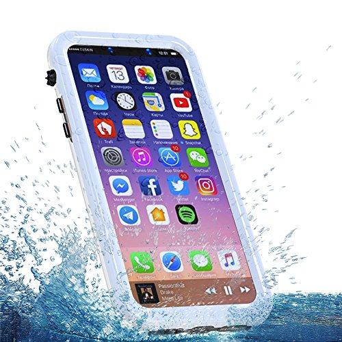 iPhone 8 Wasserdichte Hülle, FindaGift IP68 Outdoor Handyhülle Full Sealed Tasche Case Ultra dünn Full Body Staubdicht Stoßfest Schneedicht Anti-Kratzer Underwater Schutzhülle mit Displayschutzfolie f Weiß
