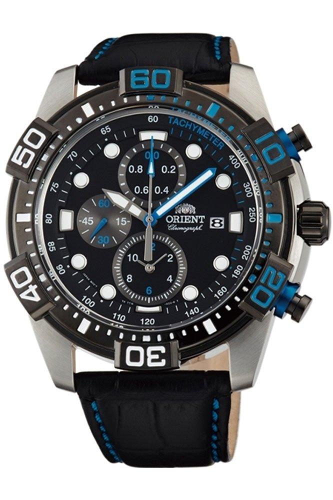 Orient Reloj Cronógrafo para Hombre de Cuarzo con Correa en Cuero FTT16004B0