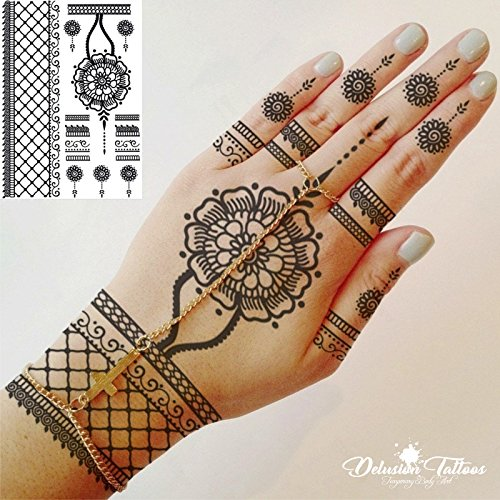 Henna Temporary Tattoo Realistic Transfer Sticker Flower Pendant