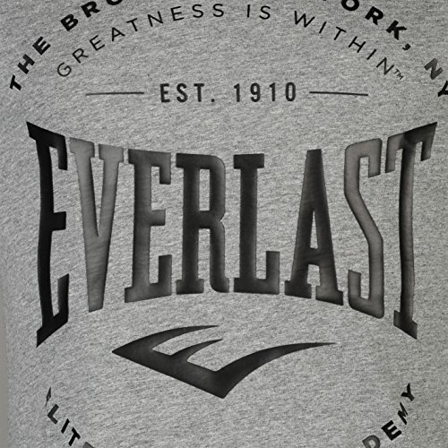 Everlast Herren Logo T Shirt Kurzarm Rundhals Kontrast Print Regular Fit Grau Meliert Bronx