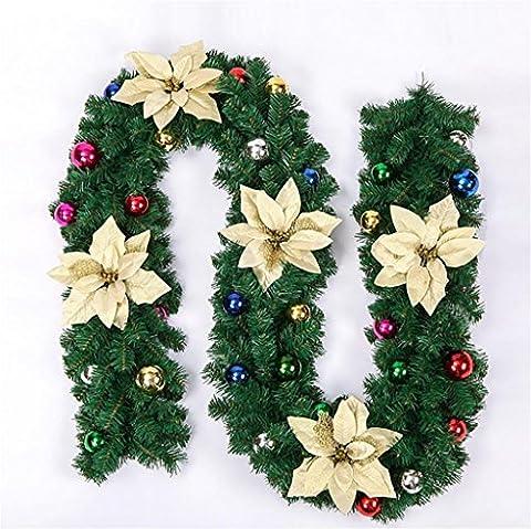 GBT 2.7M / 270Cm Weihnachtsschnur Girlanden Kiefer Kegel Blume Bogen Ball Weihnachten Rattan Dekoration für Zuhause Weihnachtsbaum Dekorationen, Golden,Golden
