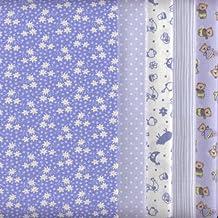 Bundle de telas - 5 telas (azules bebé) - colección de telas de coordinación (pequeños diseños) | 100% algodón | 46 x 56 cm