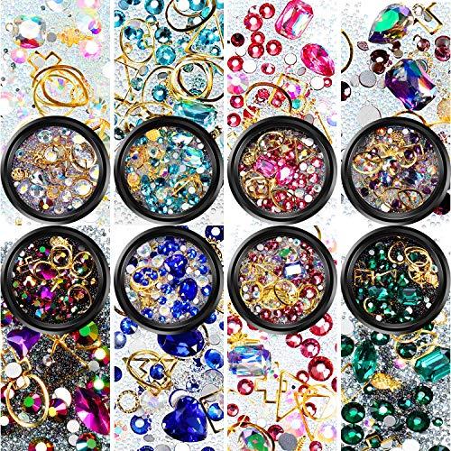 8 Boxen Nagel Kunst Strass Flache Rückseite Diamanten Kristalle Perlen Edelsteine Gemischt Bunt für Nagel Kunst Dekorationen DIY Design -