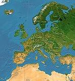 GLOW IN THE DARK Satellitenbild Europakarte: für Kinder und Erwachsene - leuchtet im Dunkeln