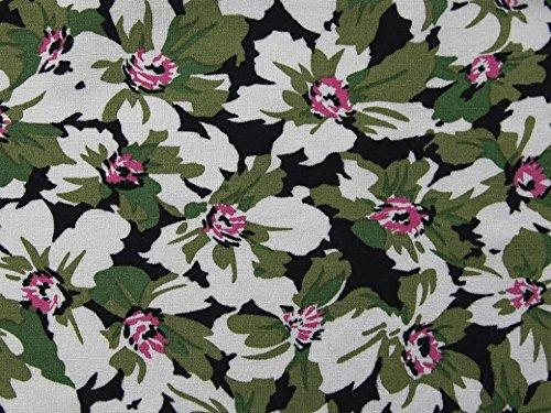 Floral Print Stretch Knit Jersey Kleid Stoff grün–Meterware (Print-stretch-jersey)