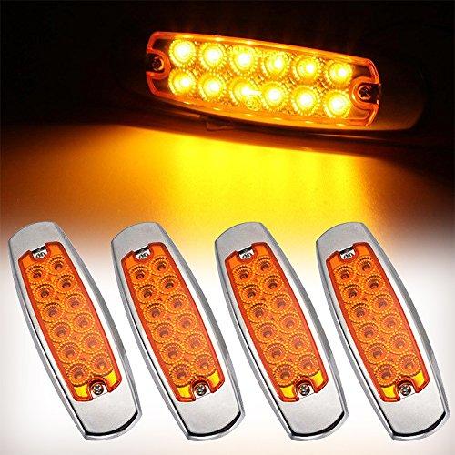 Indicateurs lumineux ultra-minces à 12 LED - Pour remorque, arrière de véhicule, camion, taxi, camping-car - Structure chromée