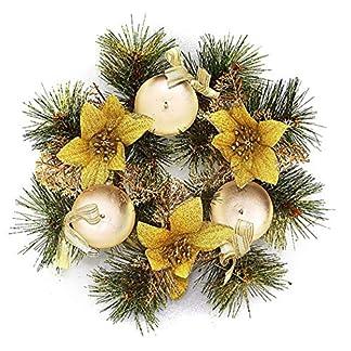 COOFIT Candelabro de Navidad Corona de Flores Artificiales Soporte de Velas Centro de Mesa de Navidad