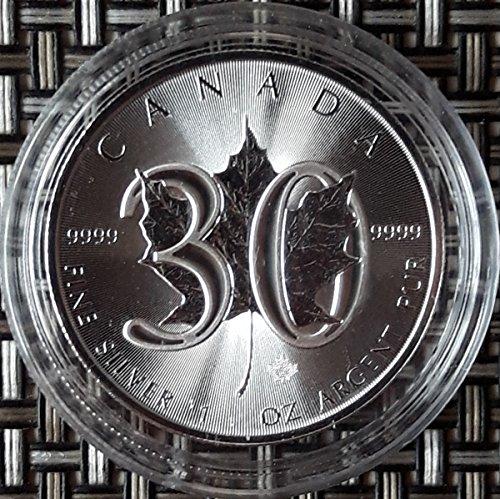 Silber Maple Kanada Leaf (1 Unze oz Silber Maple Leaf 2018 Jubiläumsausgabe 30 Jahre bei uns einzeln in Münzkapseln verpackt)