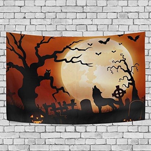 jstel Halloween Wolf Night Kürbisse Eule Mond Wandteppich für Dekoration für Wohnung Home Decor Wohnzimmer Tisch Überwurf Tagesdecke Wohnheim 152,4x 101,6cm, Textil, multi, 51x60 inch