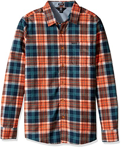 Volcom Herren Hayden Flannel Check Shirt Flanell Holzfällerhemd Kariert Orange Hemd, Papaya, M (Check Flannel Black)