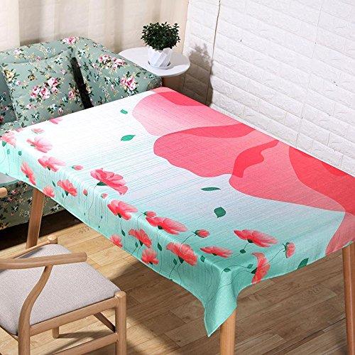 Classique pastorale lin naturel nappes 3D impression dessin animé rose fleurs table tissu maison décoration tissu couverture serviette , 60*60cm