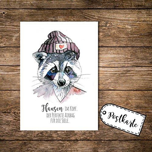 ilka parey wandtattoo-welt® A6 Postkarte Karte Print Waschbär mit Spruch Flausen im Kopf pk04