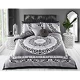 linensrange Paisley Mandala negro/azul/rosa impreso colcha funda de edredón juego de cama con fundas de almohada de S/D/K/s.k, negro, matrimonio
