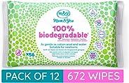 Mum & You 100% Biologisch Abbaubare Feuchttücher für Babys, Packung mit 12, (Insgesamt 672 Tücher). 98% Wasser, 0% Kunststoff