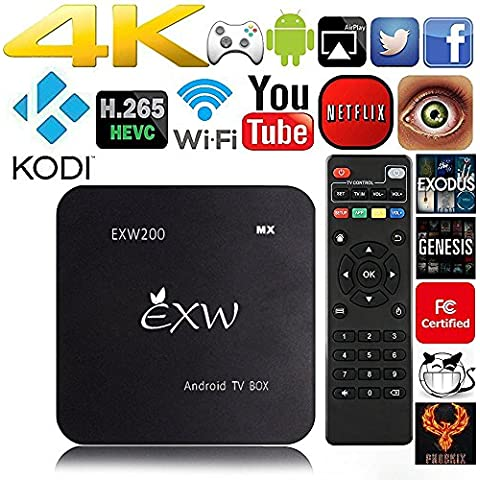EXW® Amlogic A200 Quad Core Smart TV Box With XBMC Kodi Pre-installed Android 5.1 Kitkat system H.265 Wifi LAN Miracast airplay Stream Media Player 1G RAM 8G ROM