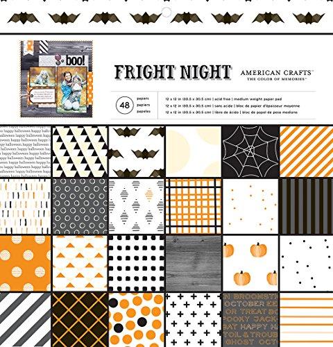 American Crafts 48Tabelle Halloween Gemustertes Papier Pad Fright Night, 30,5x 30,5cm