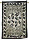 Handicrunch Wall Art Mandala Elefante Tapestry White Table Runner algodón sábana Regalo indio 81 x 54 pulgadas